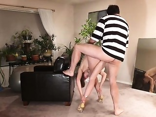Submissive brunette wife getting pounded rough doggystyle