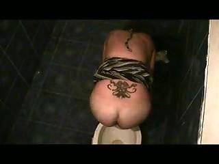 Kinky voyeur spying on sexy amateur ladies in burnish apply toilet