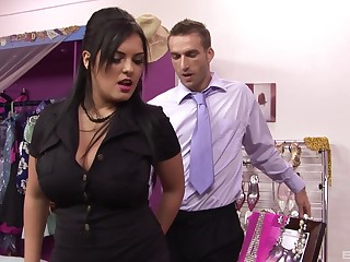 Fishnets wearing Jasmine Black forces a guy more fuck her good