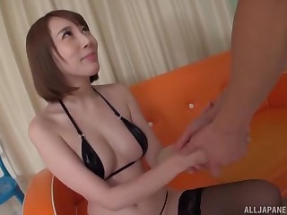 Mouth full be fitting of cum be useful to a Japanese babe in a MMF threesome