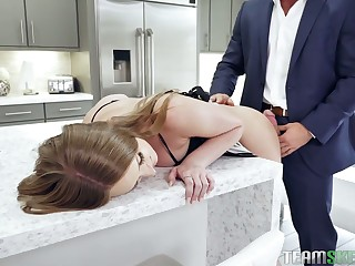 Yummy stepdaughter Daisy Stone gets her throat coupled with anus punished