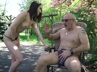 Charlotte Jonhson seduces an older guy at the park together with rides his cock