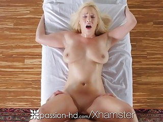 PASSION-HD Busty blonde Kylie Page oiled palpate and fucked