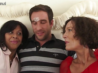 Three mature nurturer sucking in excess of one lucky cock