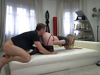 Sultry Russian gal Kiara Manly is fucked by Italian stud Rocco Siffredi