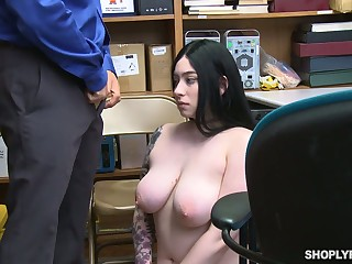 Offending tattooed black head all over huge saggy boobs Amilia Onyx is fucked by policewoman