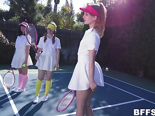 Daphne Dare plays tennis with will not hear of collaborate before horny coxcomb destroys their pussies