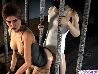 Beautiful babe Lara Croft enjoying threesome hard gangbang and interracial sex hammering