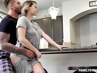 Ample breasted stepsister Cara May is fucked hard by strange stepbrother