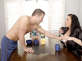 Gorgeous juggy materfamilias Reagan Foxx is fucked hard unconnected with horny stepson