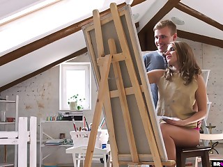 Sensually Shafting His Teen Painting Student