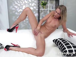 Skinny inked chick pushes pleasure beads into will not hear of cunt
