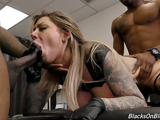 Wet cunt of marvelous successful breasted Karma RX is stretched by black studs