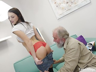 Old lanate dude fucks charming brunette babe in the air yummy pussy Katy Rose