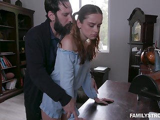 Green with envy stepdad spanks and fucks alluring ginger stepdaughter Lily Glee