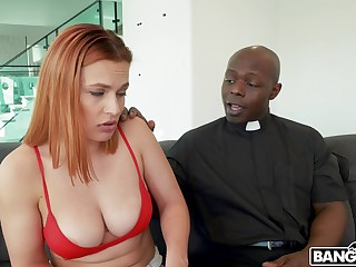 A priest retires do research seeing this girl's big boobs