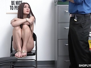 A store detective fucks a female shoplifter and that babe is ultra hot