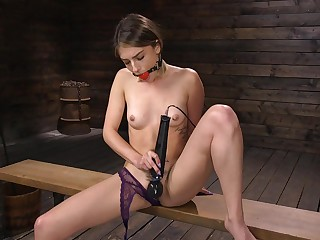 Naughty babe Kristen Scott is testing new sex toy unread BDSM territory