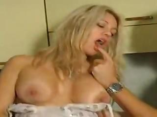 Busty blonde stunner cuckolding her girlfriend