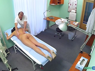 Dirty doctor gives a massage and drills wet pussy of off colour Vanessa