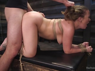 MILF wide fucked in the air BDSM scenes then made to swallow