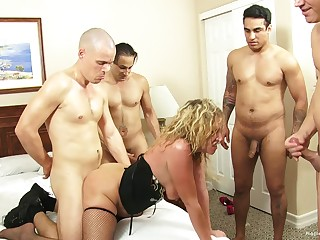 Blonde wife teases her husband's friends added to gets gangbanged