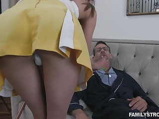 Stepdaughter helps her stepdad recover coupled with her pussy has pleased powers
