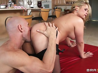 Hardcore fucking on a catch kitchen table near sweet wife Sarah