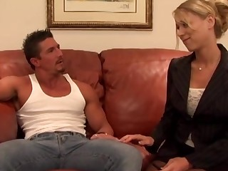 Passionate shacking up on the office couch with slutty Katie Morgan