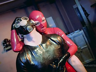 Queer and costumed couple enjoy BDSM games until they cum together