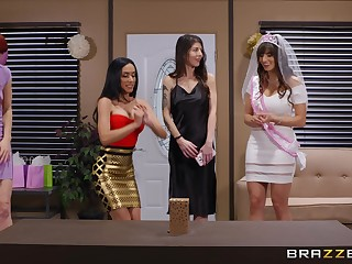 Hardcore fucking on the sofa with wife Lexi Luna and Tia Cyrus