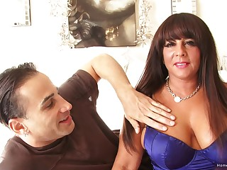 Curtain brunette MILF there huge chest takes his dick gaping void