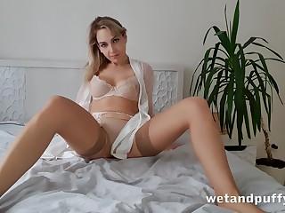 Alone emotional increased by beautiful hottie in beige stockings Siya masturbates pussy