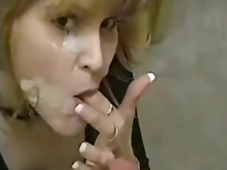 Hot blonde milf blowjob handjob and facial