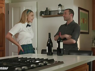 Prex young schoolgirl comes home and fucks with her dad's best buddy