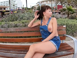 Naughty Russian MILF Lada - Bohemian boobs in Public - outdoor flashing in Spain