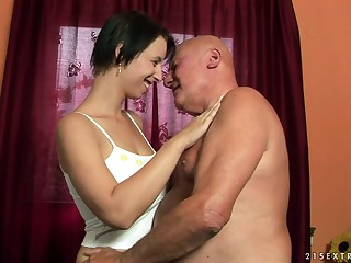 Ass licking makes Chrissie soaking and horny for his stiff dick